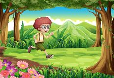 An explorer running at the jungle Stock Photography