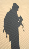Explorer's shadow in sand, Nam Stock Images