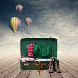 Explorer's vintage suitcase royalty free stock photos