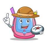 Explorer school bag character cartoon. Vector illustration Royalty Free Stock Image