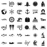 Explorer of the sea icons set, simple style. Explorer of the sea icons set. Simple set of 36 explorer of the sea vector icons for web isolated on white vector illustration