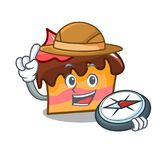 Explorer sponge cake mascot cartoon. Vector illustration Stock Photography