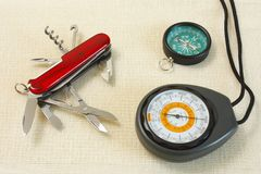 Explorer tools. Elemental explorer tools: the compass, the barometer-altimeter and the pocketknife Royalty Free Stock Image