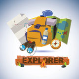 Explorer tools with design letters -  Royalty Free Stock Image