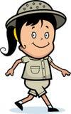 Explorer Walking. A cartoon explorer walking and smiling vector illustration