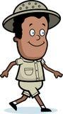 Explorer Walking. A cartoon explorer smiling and walking Royalty Free Stock Photo