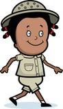 Explorer Walking. A cartoon explorer walking and smiling Royalty Free Stock Images