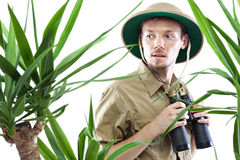 Explorer wearing pith helmet Royalty Free Stock Photo