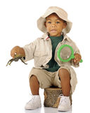 Explorer With Frog Royalty Free Stock Photos