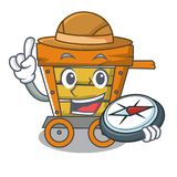 Explorer wooden trolley mascot cartoon. Vector illustration stock illustration