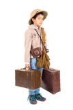 Explorer. Young boy with suitcases playing Safari isolated in white Stock Photography