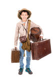 Explorer. Young boy with suitcases playing Safari isolated in white Royalty Free Stock Image