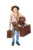Explorer. Young boy with suitcases playing Safari isolated in white Stock Image