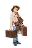 Explorer. Young boy with suitcases playing Safari isolated in white Royalty Free Stock Photos