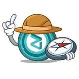 Explorer Zilliqa coin mascot cartoon. Explorer Zilliqa coin macot cartoon vector illustration Royalty Free Stock Photography
