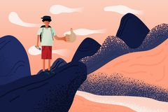 Explorers Man standing on top of mountain, cliff and sea. He is thumbs up for success on target.   illustration flat design. royalty free illustration