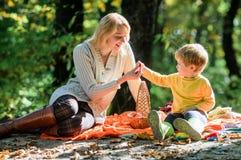 Explorez la nature ensemble Garçon de maman et d'enfant détendant tout en augmentant dans le pique-nique de famille de forêt Joli images stock