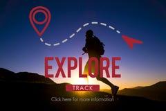 Explorez le concept de vacances de voyage de voyage de voyage d'expérience image libre de droits