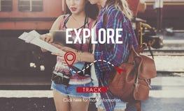 Explorez le concept de vacances de voyage de voyage de voyage d'expérience images libres de droits