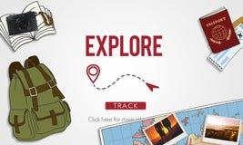 Explorez le concept de vacances de voyage de voyage de voyage d'expérience illustration libre de droits