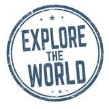 Explorez le signe ou le timbre du monde illustration de vecteur