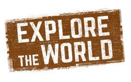 Explorez le signe ou le timbre du monde illustration libre de droits