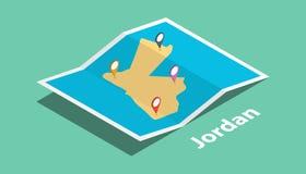 Explorez les cartes de la Jordanie avec le style isométrique et goupillez l'étiquette d'emplacement de marqueur sur le dessus illustration libre de droits