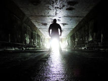 Exploring an Abandoned Tunnel Royalty Free Stock Images
