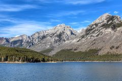 The beautiful scenic mountains by Lake Minnewanka in Banff stock images
