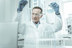 Contented scientist carrying tubes in both hands. Exploring it attentively. Contented scientist carrying tubes with muddy liquids in both hands and examining it royalty free stock photo