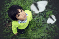 Exploring Boy. A three year old toddler looking up at white butterflies in a forest Stock Image