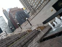 Exploring Chicago. Chicago city fountain and stairs near the river walk Stock Photo