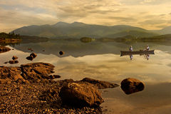 Exploring Derwent Water. Derwent Water in the Lake District, Cumbria, England Royalty Free Stock Image