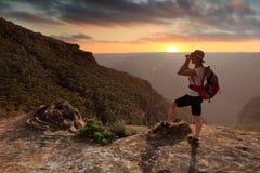 Exploring the Explorer`s Range, Blue Mountains Royalty Free Stock Image