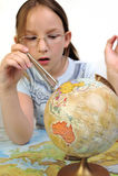 Exploring the globe Stock Image