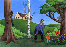 Exploring With Grandpa. Colored pencil illustration of a grandpa exploring the outdoors with his grandson in the backyard royalty free illustration
