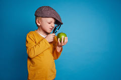 Exploring green apple Royalty Free Stock Image