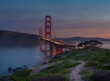 Sunrise at Golden Gate Bridge stock photography