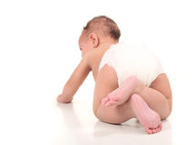 Exploring Infant Baby Boy Crawling. Infant Baby Boy Crawling From Behind Stock Photo