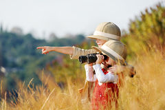 Exploring kids stock photography