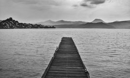Lake and dock. Exploring and living in nature Royalty Free Stock Photos