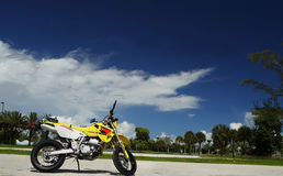 Exploring by Motorcycle. Motorcycle parked with Deep Blue Sky in the Background. Shot with canon 350d and 17-40mm L lens Stock Photo
