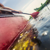 Exploring nature in a canoe Stock Photography