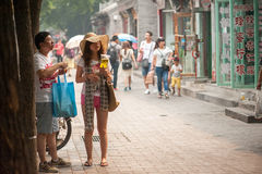 Exploring the old Hutongs of Beijing Stock Photo