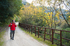 Exploring Pantalica. Hiker walking along the trails of the Anapo valley, by the rocky necropolis of Pantalica stock photo