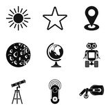 Exploring the planet icons set, simple style Stock Photography