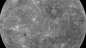 Exploring planet Mercury in high resolution show extremely detailed surface with craters, plains and mountains