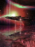 Exploring planets. Spacecraft navigating close to alien several planets and satellites and discovering water Stock Photo