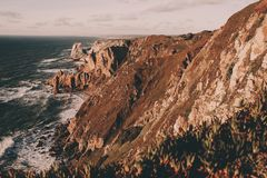 Exploring Portugal. Cabo da Roca ocean and mountains view, authentic lifestyle capture stock photos
