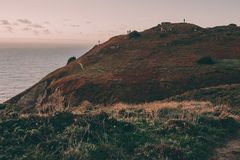 Exploring Portugal. Cabo da Roca ocean and mountains view, authentic lifestyle capture royalty free stock photo